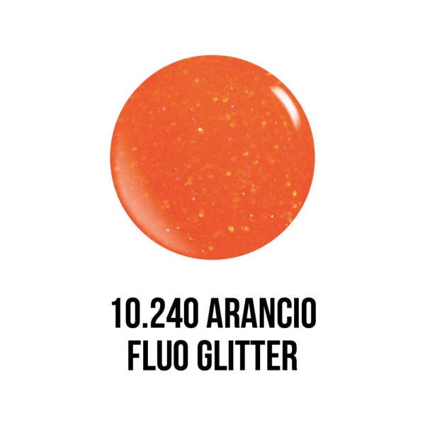 smalto gel semipermanente shellac Arancio Fluo Glitter