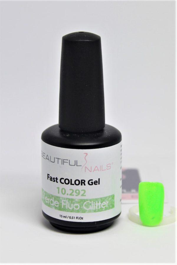 smalto gel semipermanente shellac Verde Fluo Glitter