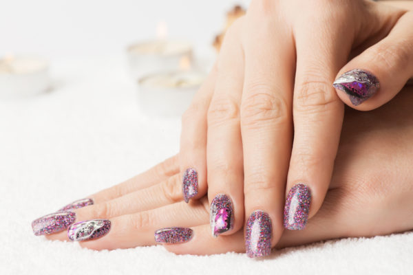 smalto gel semipermanente shellac Viola/Blu Glitter